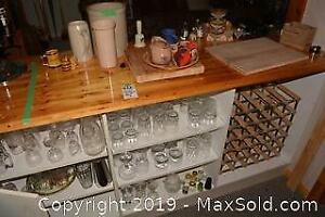 Glasses, Wine Rack And Bar Accessories A