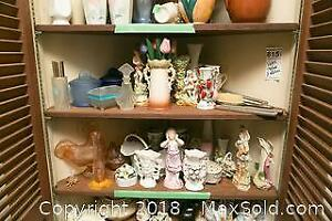 2 Shelves of Vases Figurines and More. A