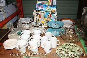 Tiered Trays, Corelle Cups And Saucers, China Plates and More