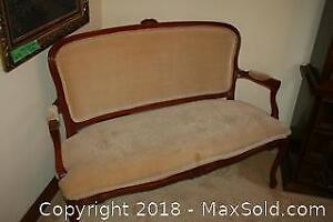 Victorian Style Upholstered Loveseat Bench