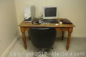 Computer And Office Chair And Antique Desk B