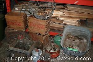 Vintage CocaCola and Pepsi Crates, Milk Bottles, Gas Cans And Basins
