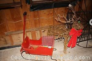 Reindeer And Antique Sled B