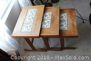 Wood Nesting Tables With Tile Inlay