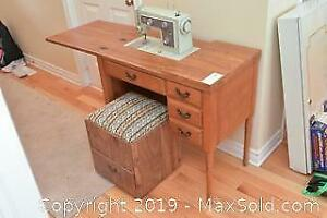 Sewing Machine And Machine Cabinet. A