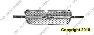 Grille Chrome Frame With Black Honeycomb With Dale Center Bar Require Wing Inserts Chevrolet Silverado 2003-2007