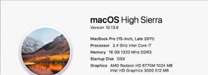 MacBook Pro 15inch Late 2011 2.4ghz Quad Core i7