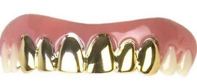 GOLD GRILLZ FAKE TEETH bling dentures costume dressup funny grills gangster - Fake Teeth Grillz