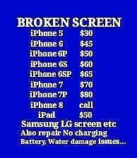 IPHONE SAMSUNG IPAD,fix on spot,Samsung S4 $40,S5 $60,S6 $80,IPAD$50,BEST PRICE GUARANTEE! SEE MORE PRICE