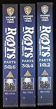 Boxed set of 3 VHS videos - the whole of the TV drama Roots./