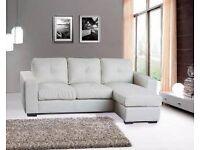 Diego Corner Sofa Full Bonded Leather - Black, White