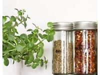 Set of 3 New Chrome Coloured Lids Refillable Clear Glass Spice Herbs Jars Holders.