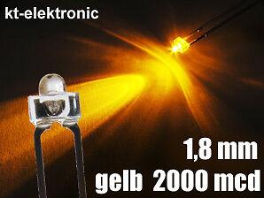 10x LED 1,8mm gelb superhell