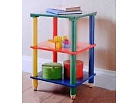 Multicolour Children Kids Pencil 3 Tier Shelves Solid Wood Free Standing