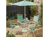 NEW Miami garden furniture set glass table 4 chairs & Parasol green leaf print