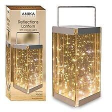 Anika 62190 Reflections Lantern with Battery Operated LED Rice Lights, Glass, Transparent