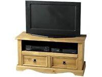 Corona Solid Pine 2 Drawer Flat Screen TV Unit
