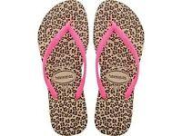 Havianas leopard skin flip flops 29/30