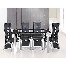 Glass 6 Seater Dining Table with 6 Faux Leather chairs - very good condition