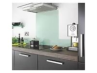 WREN KITCHEN GLASS SPLASH BACK with fitting kit - measures 74 cm high x 60 cm wide