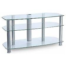 3 tier clear glass tv stand with cable tidy
