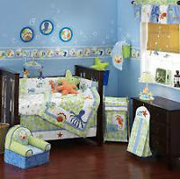 """Lambs and Ivy """"Bubbles"""" Crib bedding set plus extras"""
