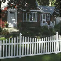 Vinyl white scalloped fence