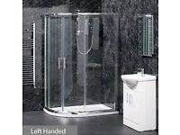 bathroom Quadrant and Offset quadrant Shower enclosures. Tray and Waste Included.