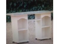 Dressing table or side table with shelves. Separate quality glass top. Kidney shaped.