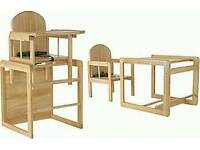 Wooden highchair converts into table&chair