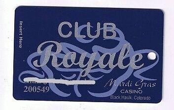 Mardi Gras Club Royale Casino Vintage Slot Machine Card Black Hawk Colorado