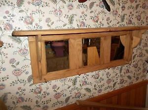 3 Mirror Wall Shelf With Coat Hooks