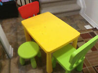 Ikea Mammutt Table with chairs/stool