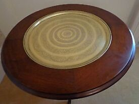 Solid Mahogany Tilt & Turn table by Archer & Smith Egyptian design inscribed brass
