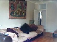 DFS LINDA BARKER 3 Piece Modular Sofa Set Beige Velvet / Brown Leather