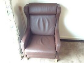 Danish Style Leather Wing back Chair. Is located in Bath, Somerset