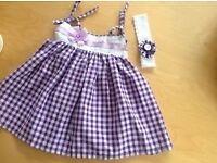Baby dress Handmade Headband Newborn 6 months Purple Lilac New