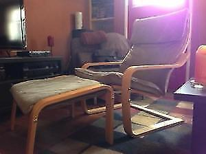 Ikea Poang Chair + foot rest - corduroy
