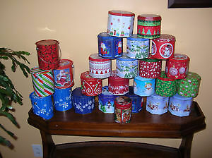 Holidays Metal Tin Containers Empty lot of 26