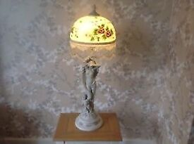 WIDDOP BINGHAM TABLE LAMP WITH BEADED SHADE VERY GOOD CONDITION