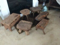 Antique and Weathered milking stools
