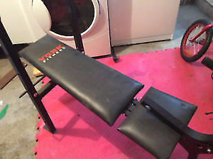 exercise benchwith bar + two metal weight  of 10 pound each ..