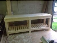 Hand made wooden work bench 8ft