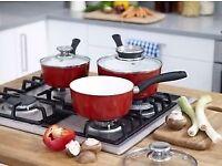 CERACRAFT Ceramic Saucepan Set of Three pans with lids. NEW Free Postage