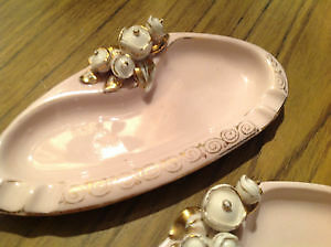 Set of Vintage Japan/hand painted L'amour China Trinket dishes