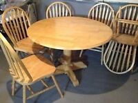 Dining table set with 6 chairs.