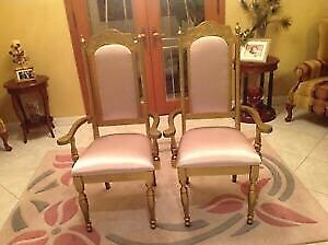 Two gold antique decorative chairs