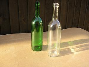 Brand New wine bottles 750 ml.Case of 12. Clear/Green.