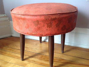 Funky little retro orange vinyl footstool/ottoma