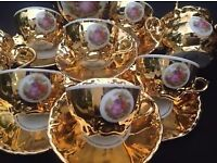 VINTAGE Gold Lustre TEA/COFFEE POT and Six Bond ware fine china cups and saucers, teapot & milk jug